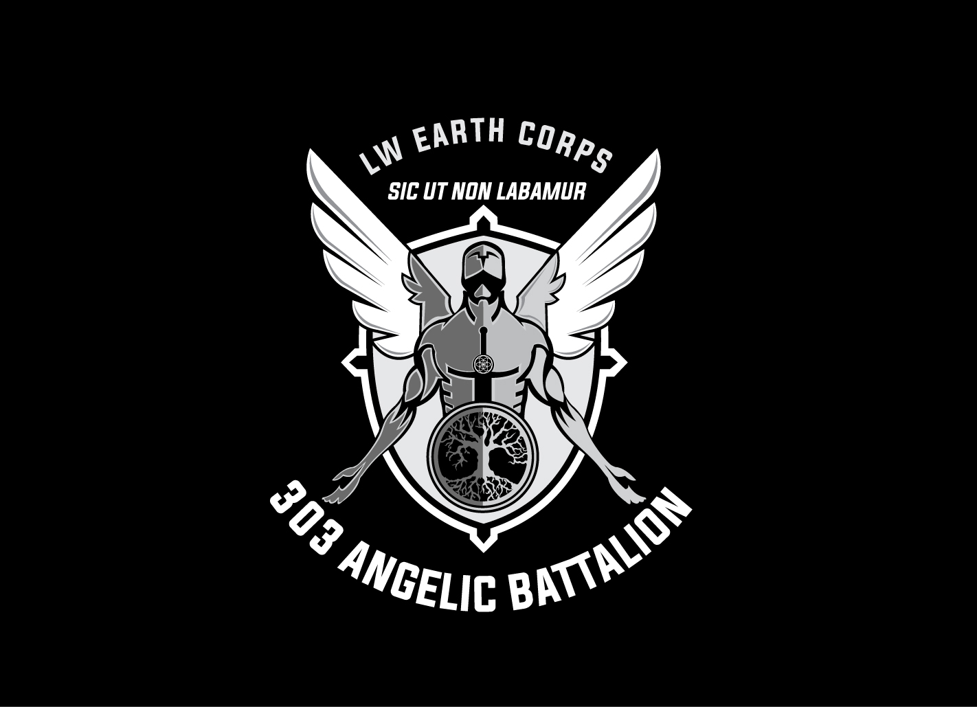 serious professional logo design for 303 angelic battalion lw earth