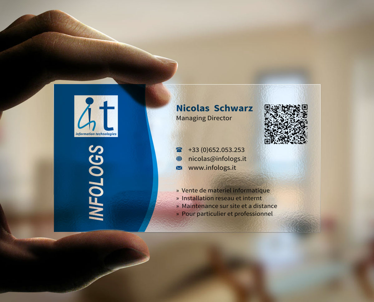 Modern professional business card design for infologs sarl by business card design by indianashok for local computer reseller and it assistant by remote desktop magicingreecefo Images