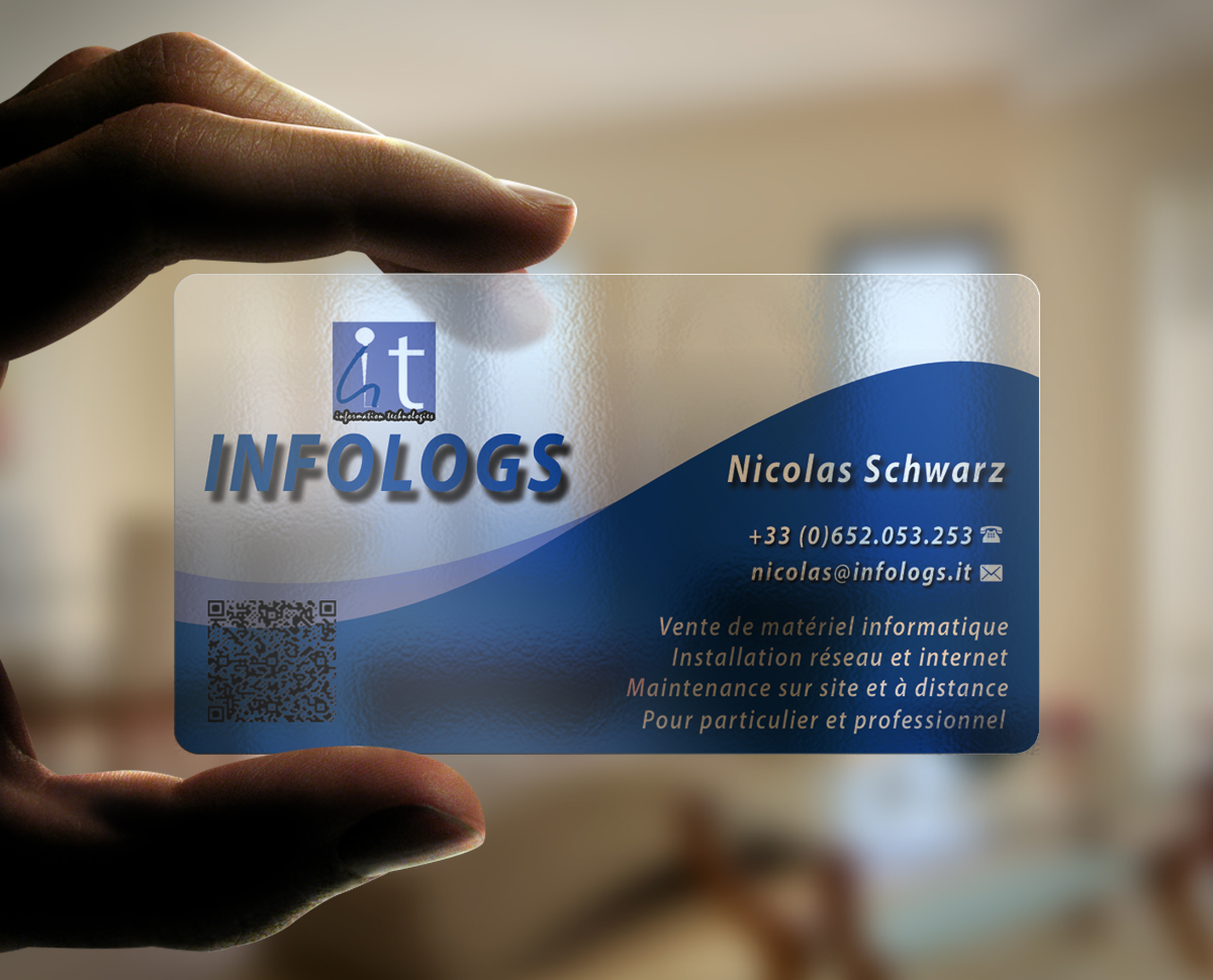 Modern professional business card design for infologs sarl by business card design by afhun for local computer reseller and it assistant by remote desktop magicingreecefo Images