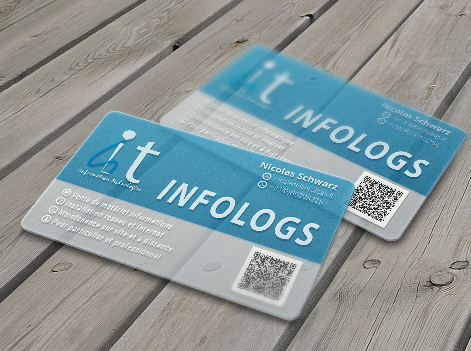 Modern professional business card design for infologs sarl by business card design by saneer for local computer reseller and it assistant by remote desktop magicingreecefo Images