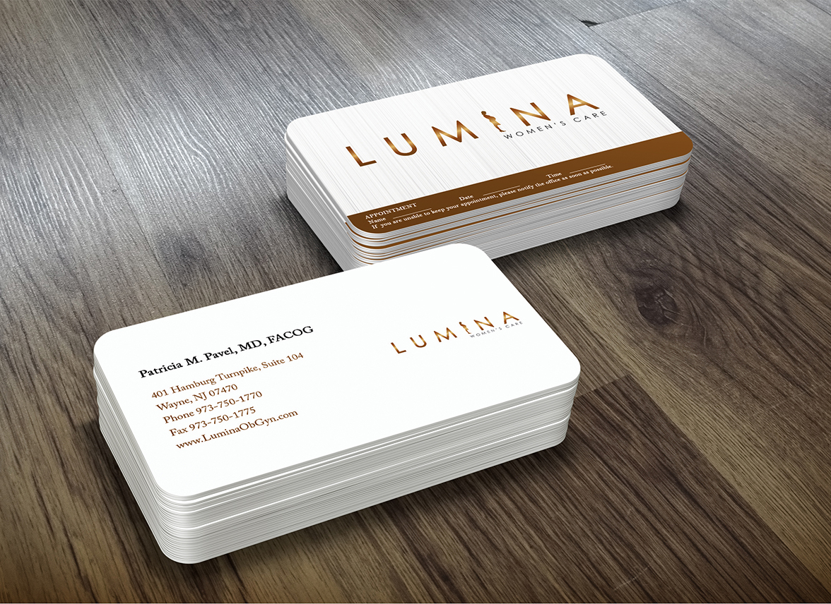 Elegant serious health care business card design for lumina women business card design by iko for lumina womens care design 7006338 reheart Image collections