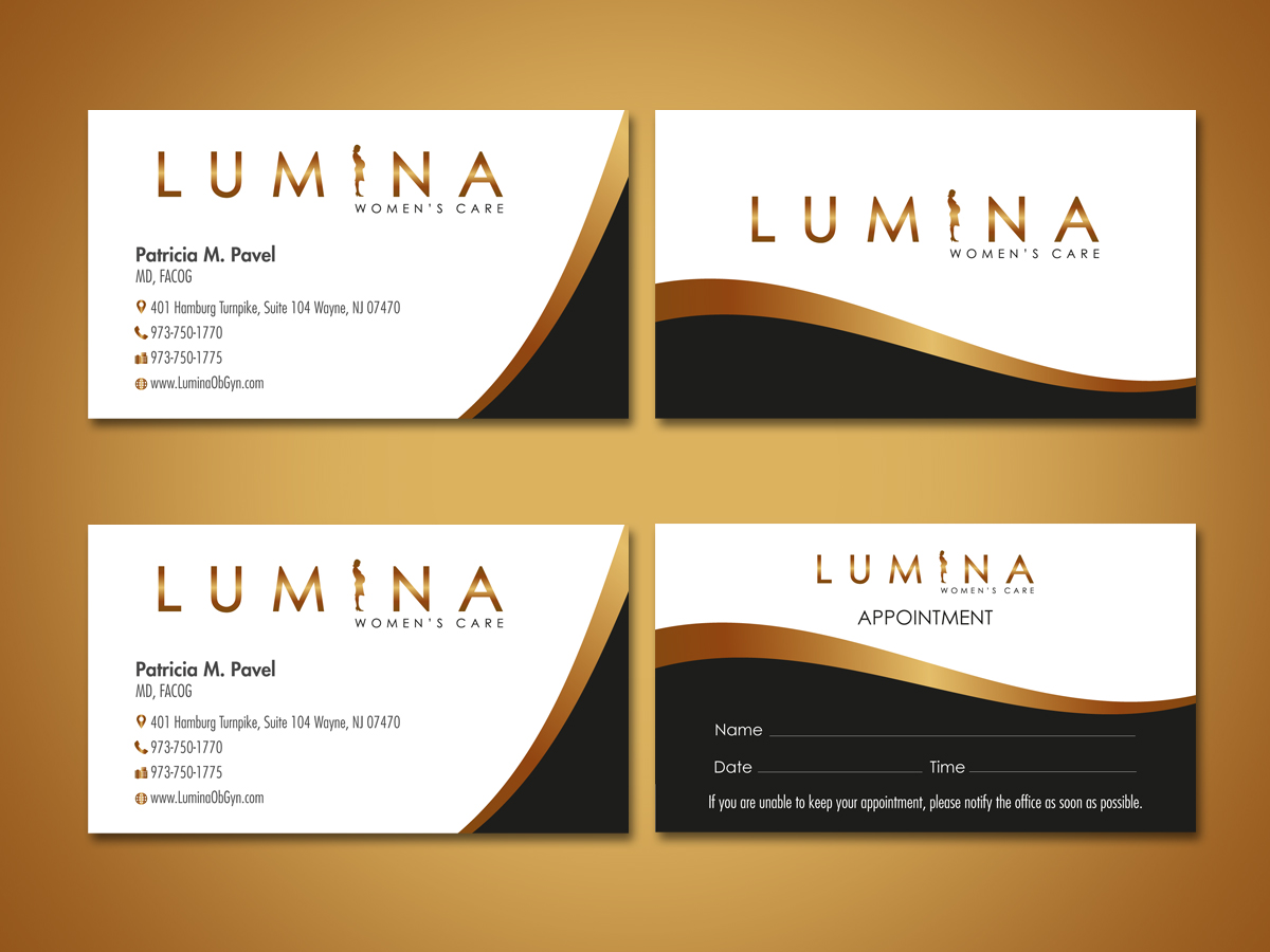 Elegant serious health care business card design for lumina women business card design by shradha for lumina womens care design 7000257 reheart Image collections