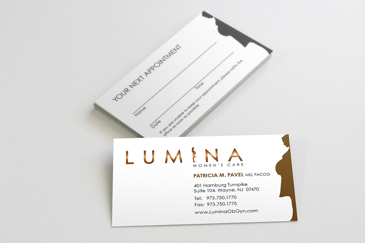 Elegant serious health care business card design for lumina women business card design by benleesign for lumina womens care design reheart Image collections