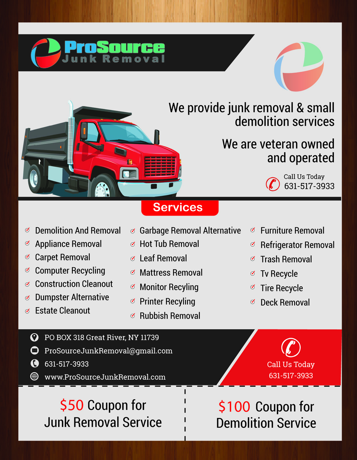 bold playful junk removal flyer design for a company in united states design 6937684