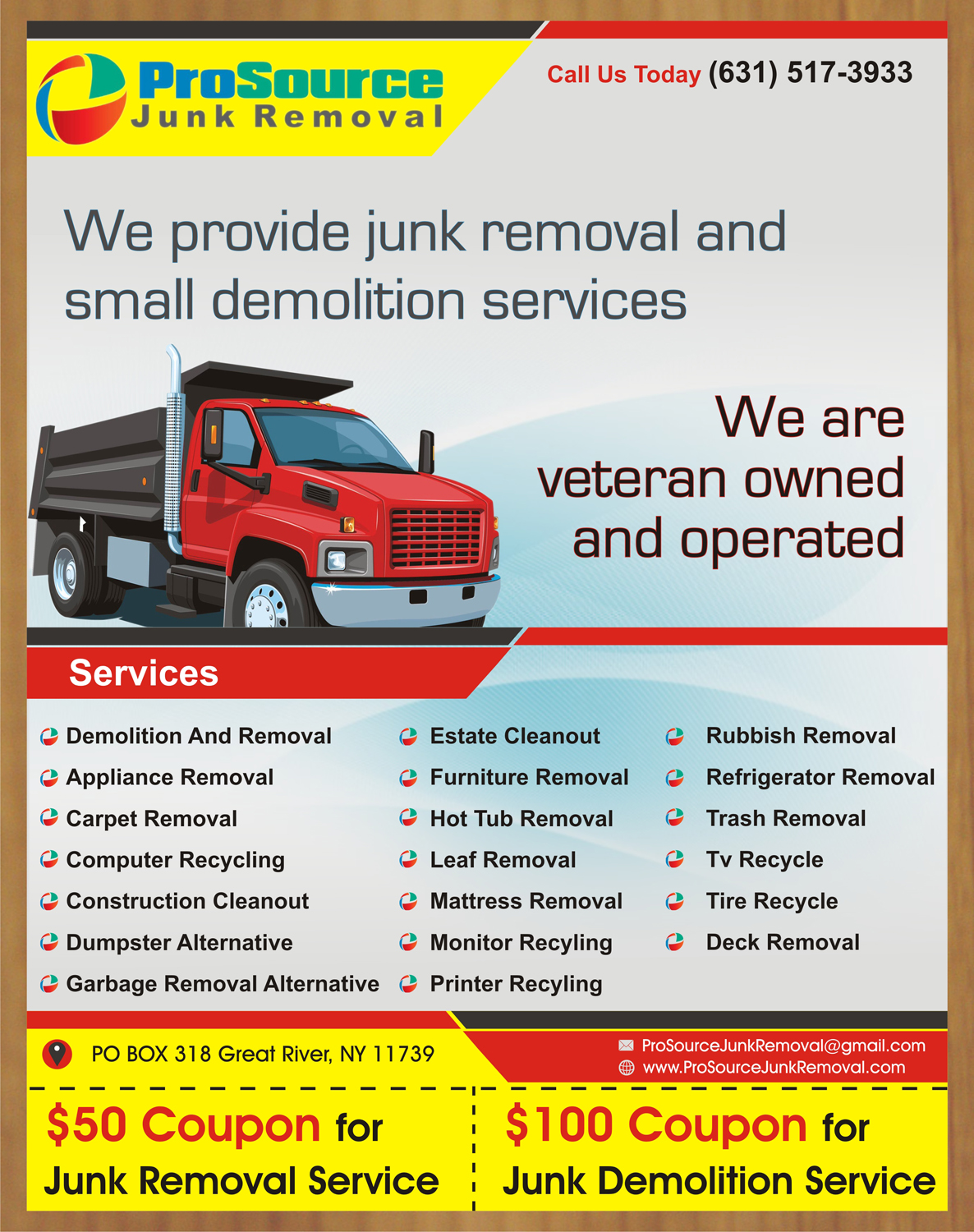 bold playful junk removal flyer design for a company in united states design 6983960