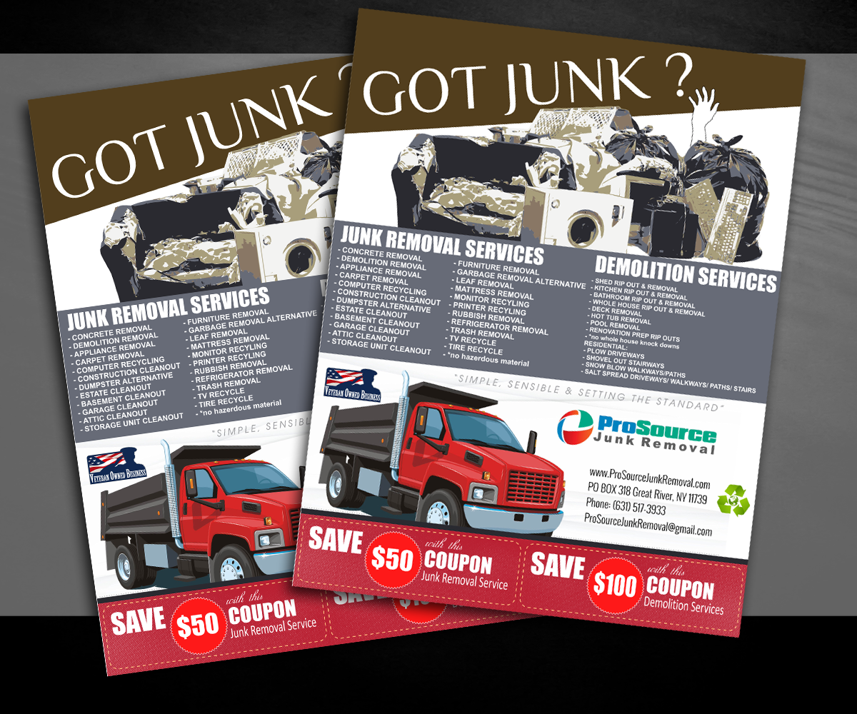 bold playful junk removal flyer design for a company in united states design 6982150