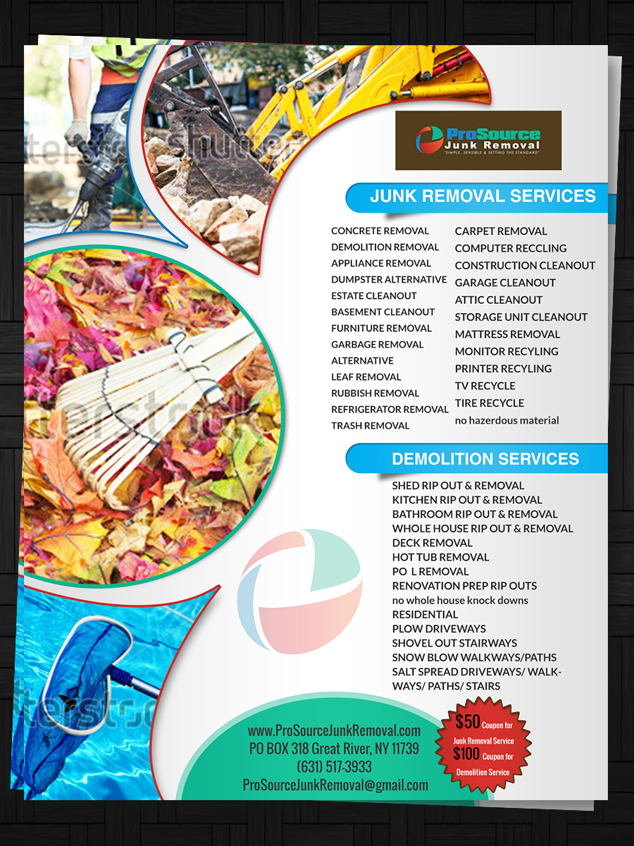 bold playful junk removal flyer design for a company in united states design 6953145