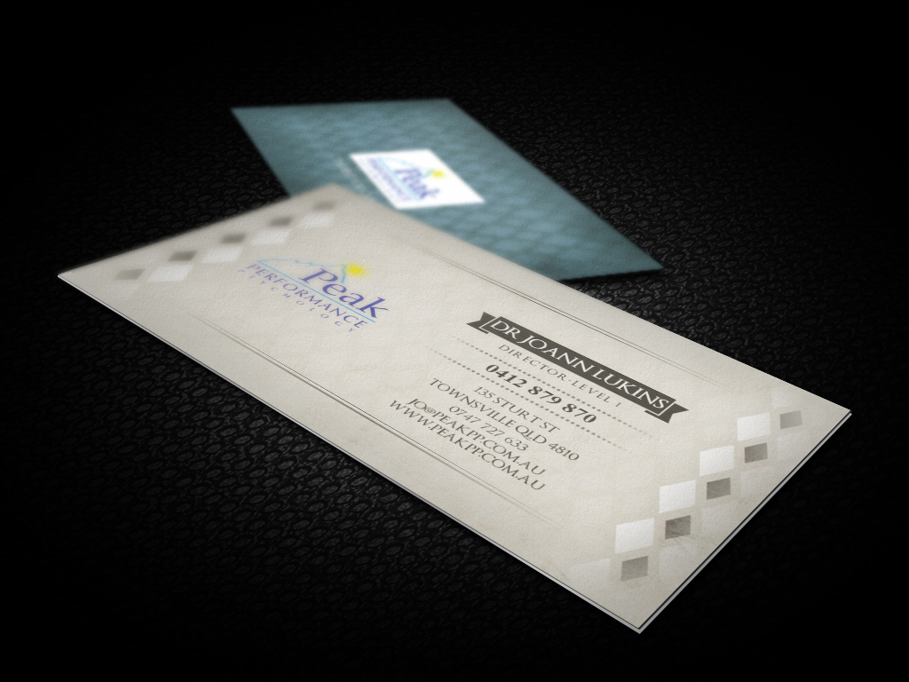Modern professional business card design for peak performance business card design by ckl studios for performance psychology business card design letterhead design magicingreecefo Choice Image