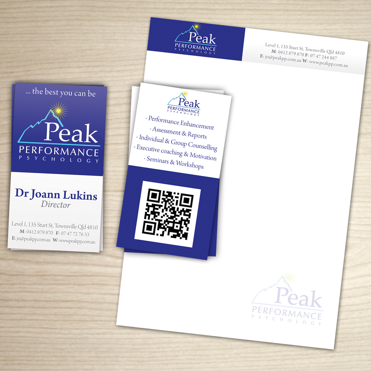 Modern professional business card design for peak performance business card design by noi for performance psychology business card design letterhead design magicingreecefo Choice Image