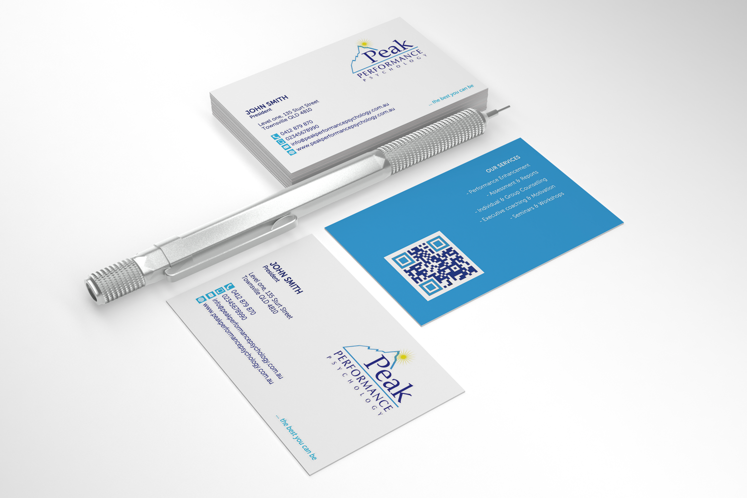 Modern professional business card design for peak performance business card design by sarah mathews for performance psychology business card design letterhead design magicingreecefo Choice Image