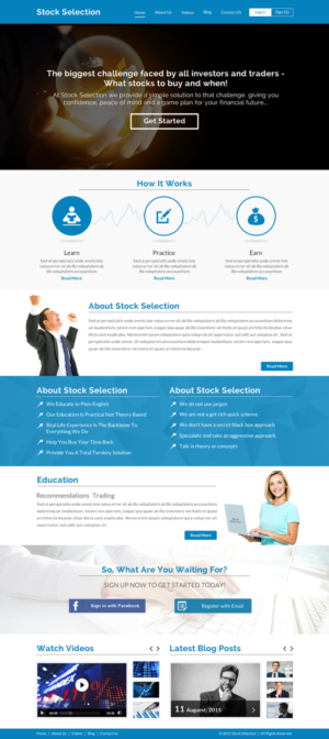 Stock Trading Website to Educate and give Trade Recommendations to
