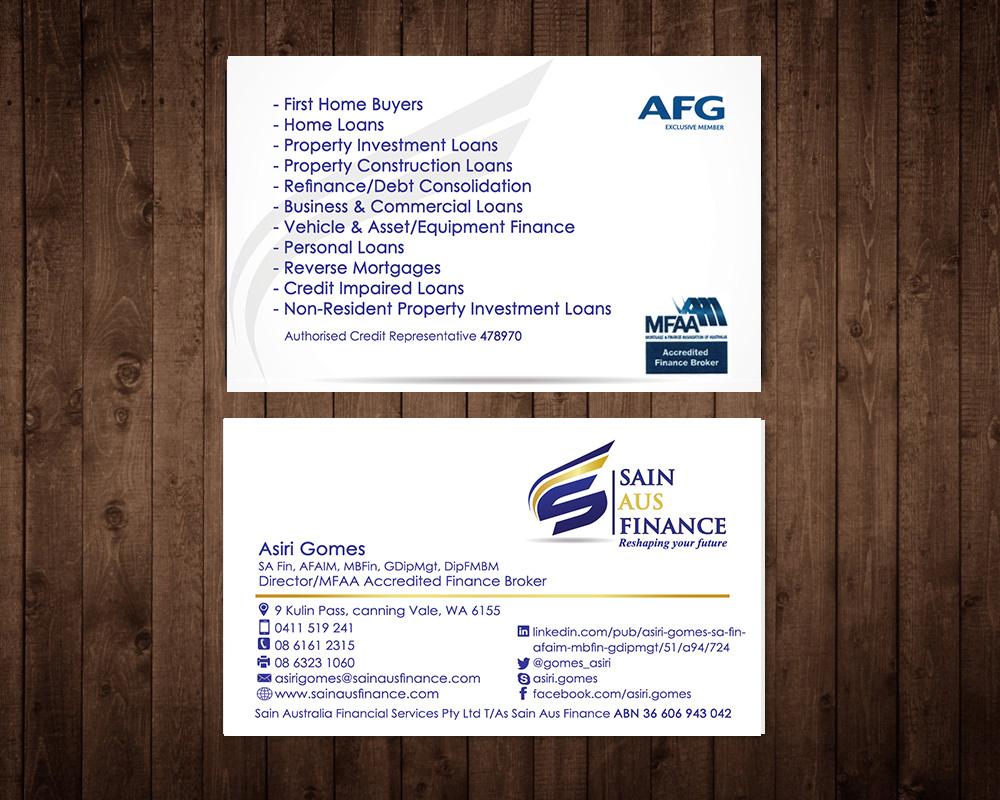 Elegant, Playful Business Card Design for Sain Aus Finance by ...
