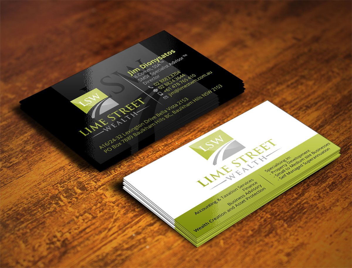 92 professional business card designs business business card business card design by design xeneration for lime street wealth design 6987186 reheart