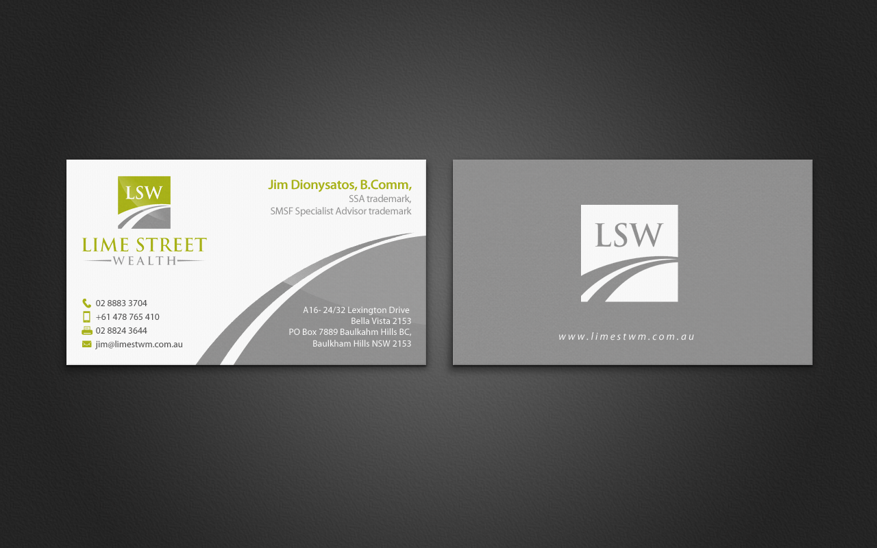 Professional, Conservative Business Card Design for Lime Street ...
