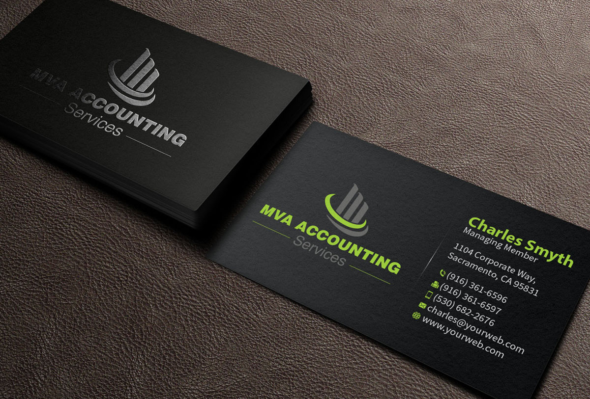 Playful professional accounting business card design for mva business card design by mediaproductionart for mva accounting services design 6969882 reheart Images