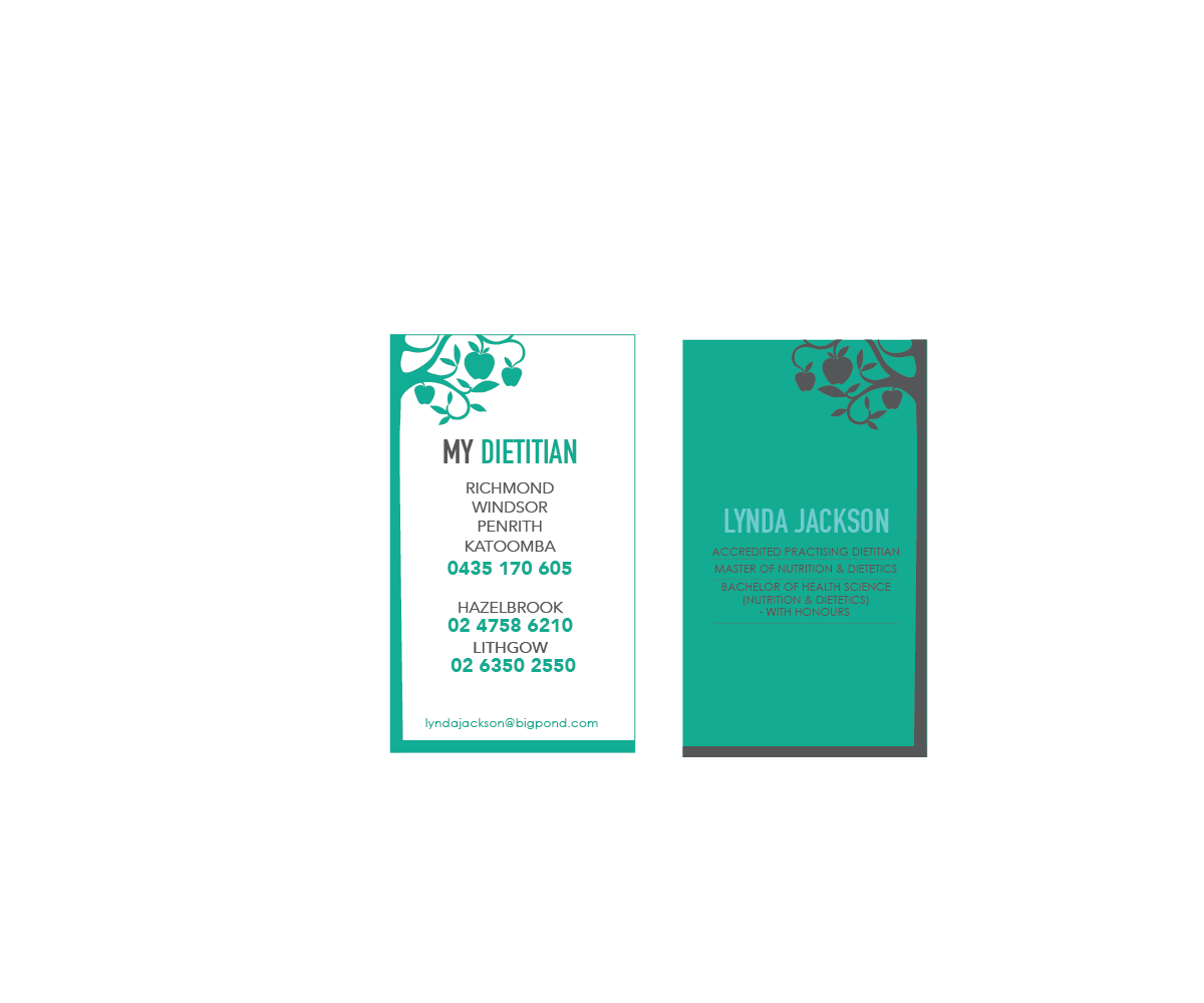 Modern, Upmarket, Business Business Card Design for mydietitian by ...