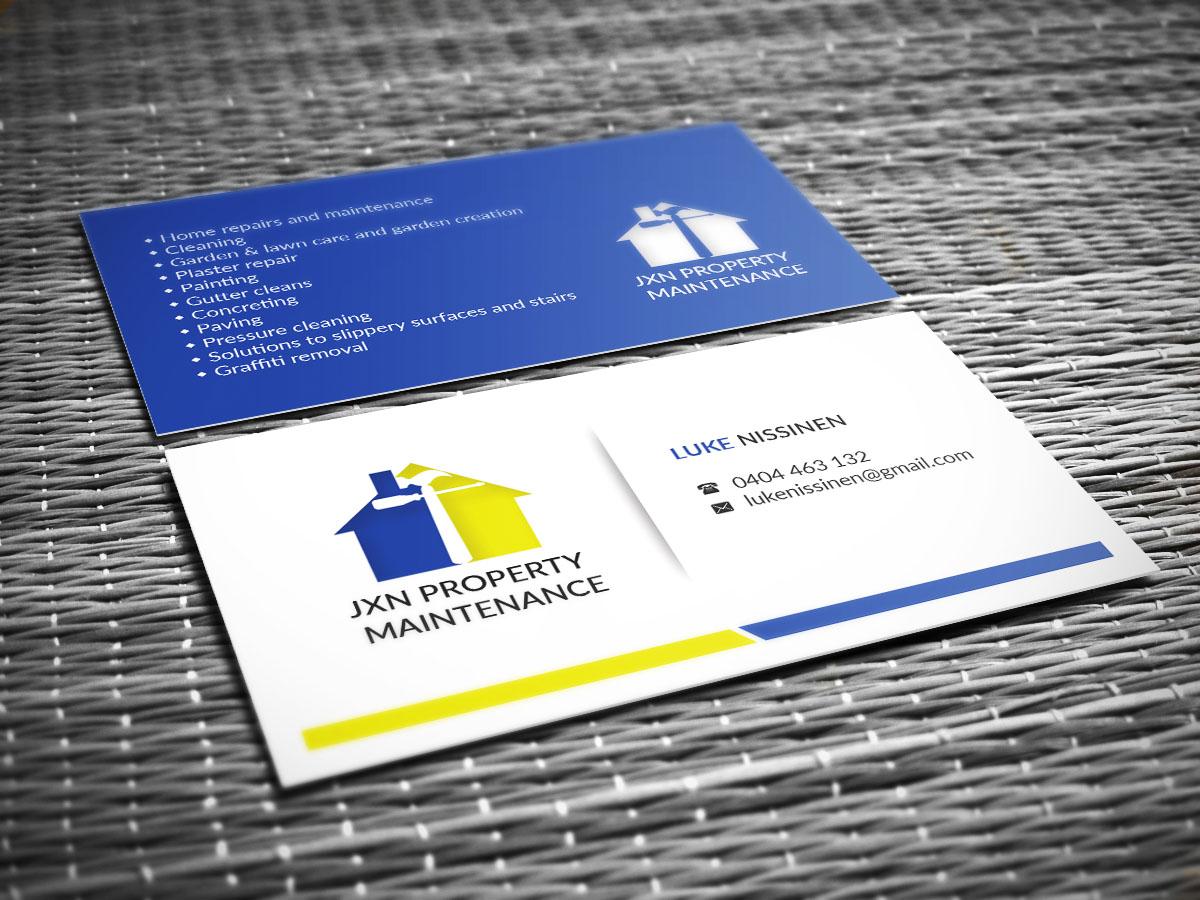 Elegant playful business business card design for jxn for Property maintenance business cards
