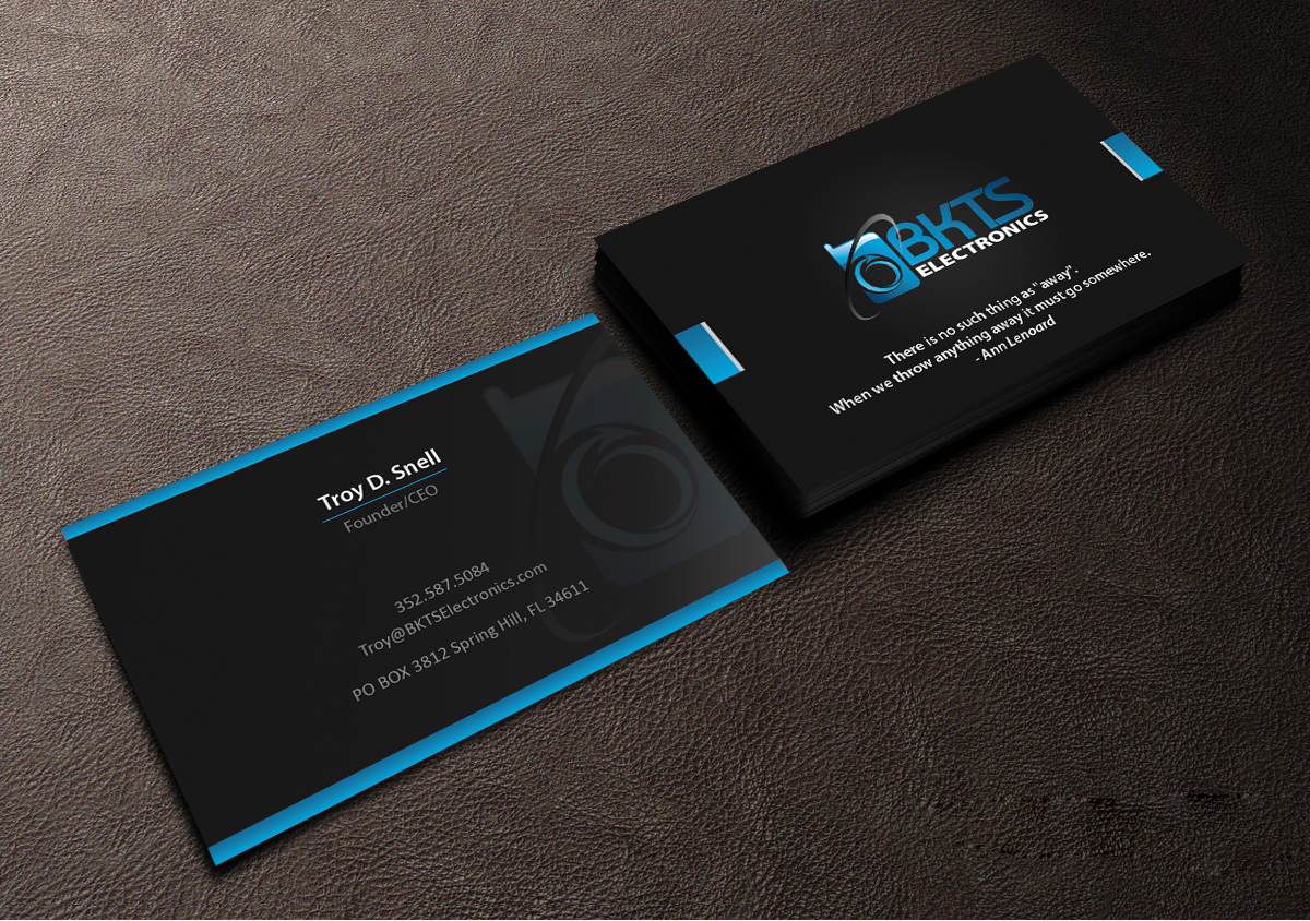 Bold, Serious Business Card Design for BKTS Electronics by ...