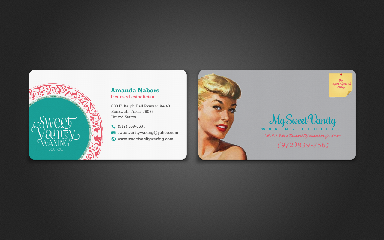 Elegant playful beauty salon business card design for sweet vanity business card design by chandrayaaneative for sweet vanity waxing boutique design 7097386 reheart Choice Image