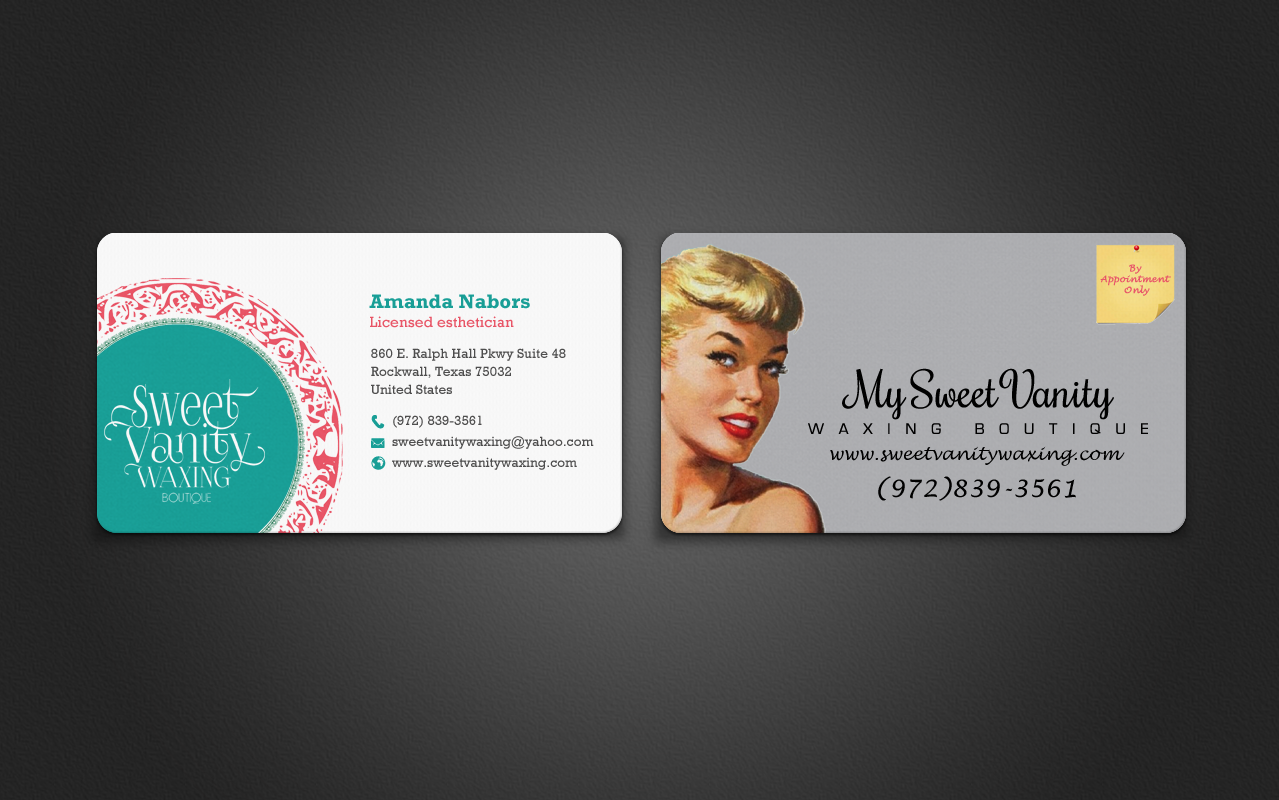 Elegant playful beauty salon business card design for sweet vanity business card design by chandrayaaneative for sweet vanity waxing boutique design 7102486 reheart Images