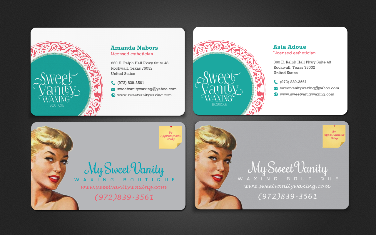 Elegant playful business card design for sweet vanity waxing business card design by chandrayaaneative for business card design design 7108267 reheart Choice Image