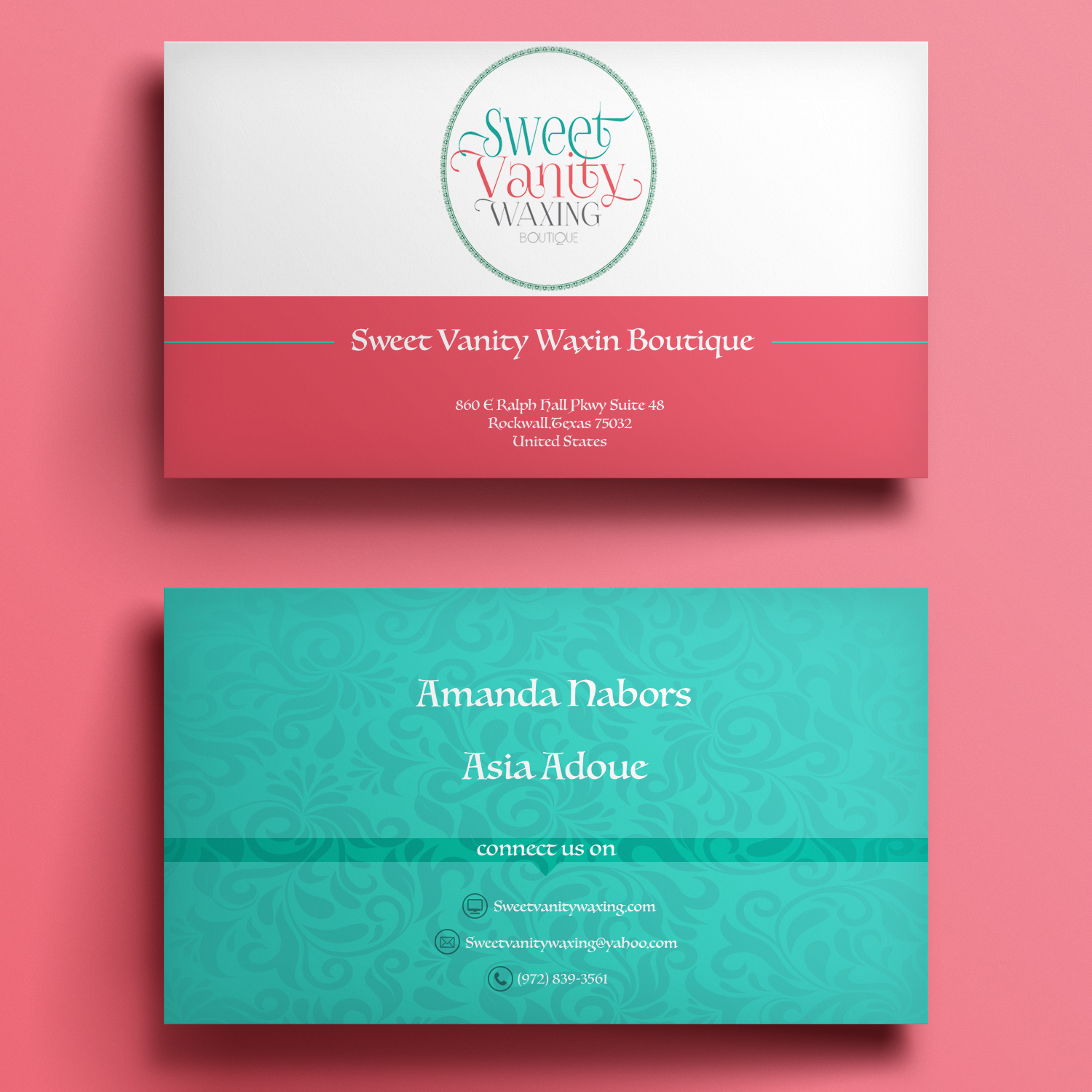 Elegant playful business card design for sweet vanity waxing business card design by mariami for business card design design 7065160 reheart Choice Image