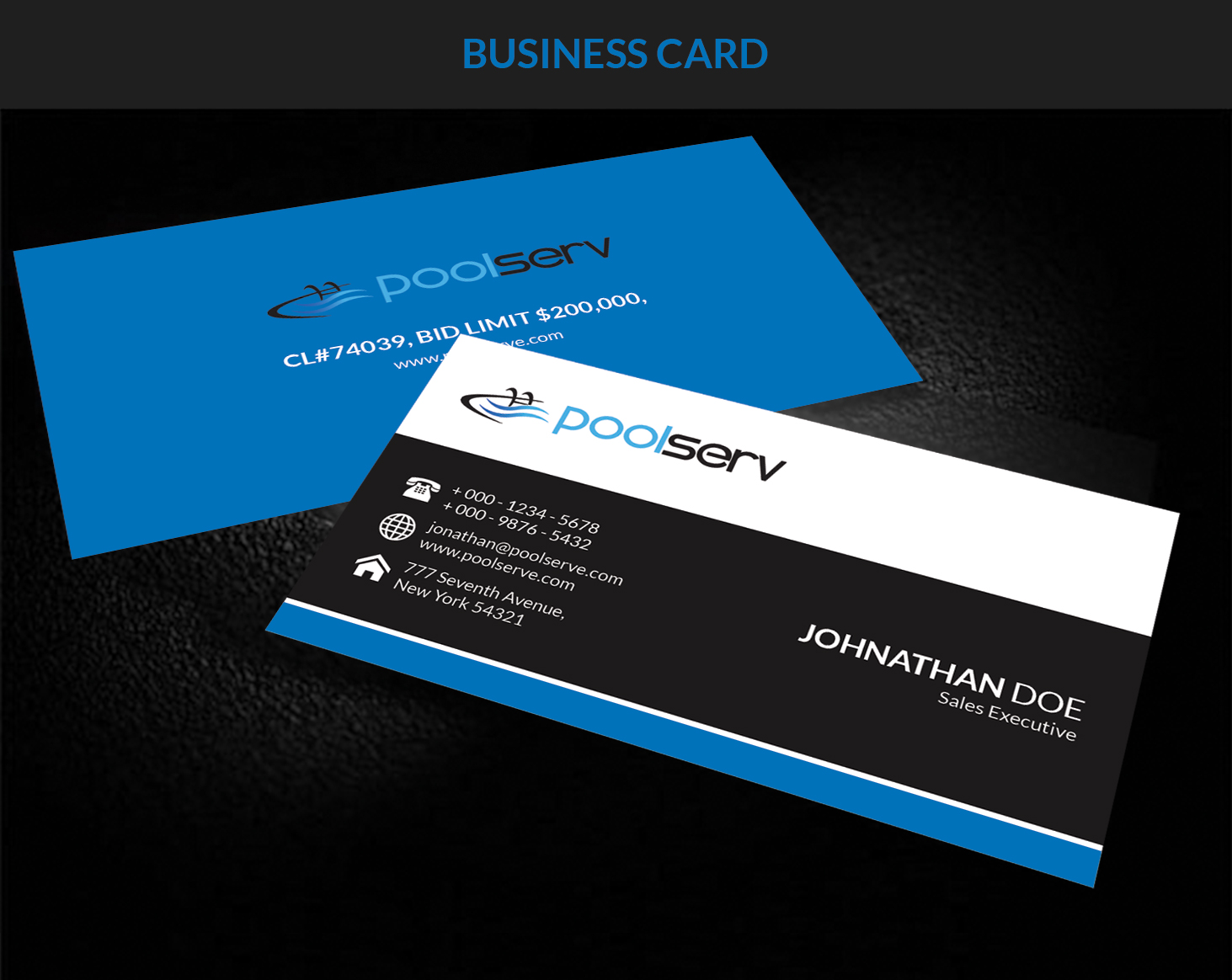 Swimming Pool Service Business Cards : Modern professional business card design for a