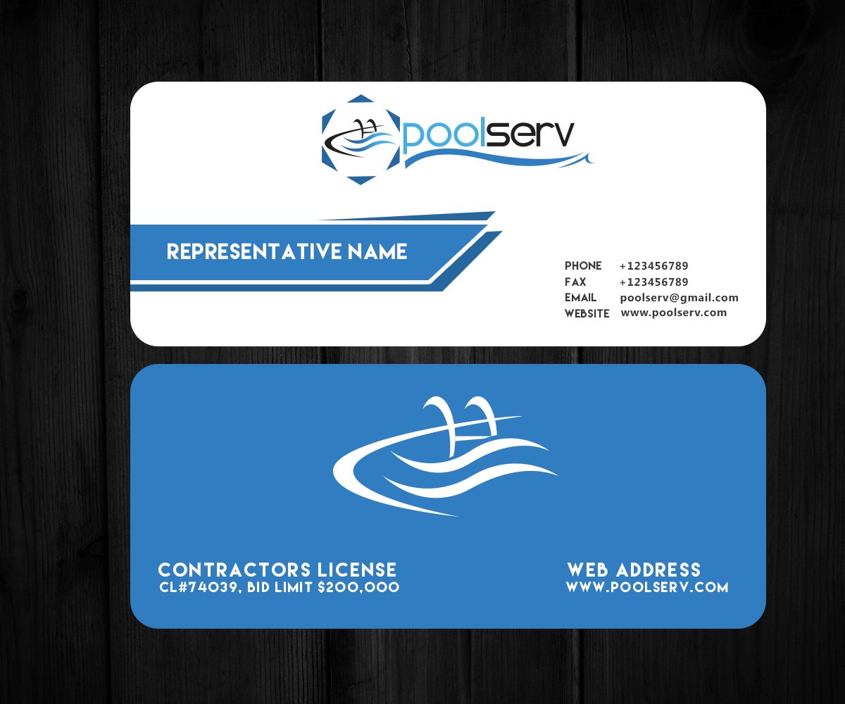 Swimming Pool Service Business Cards : Modern professional business card design by westruk