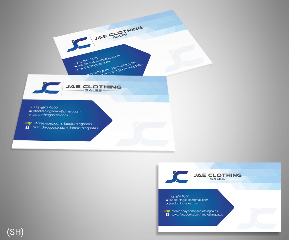 Bold modern business card design for jae sales llc by esolbiz business card design by esolbiz for business card for online clothing business design 7051867 magicingreecefo Gallery