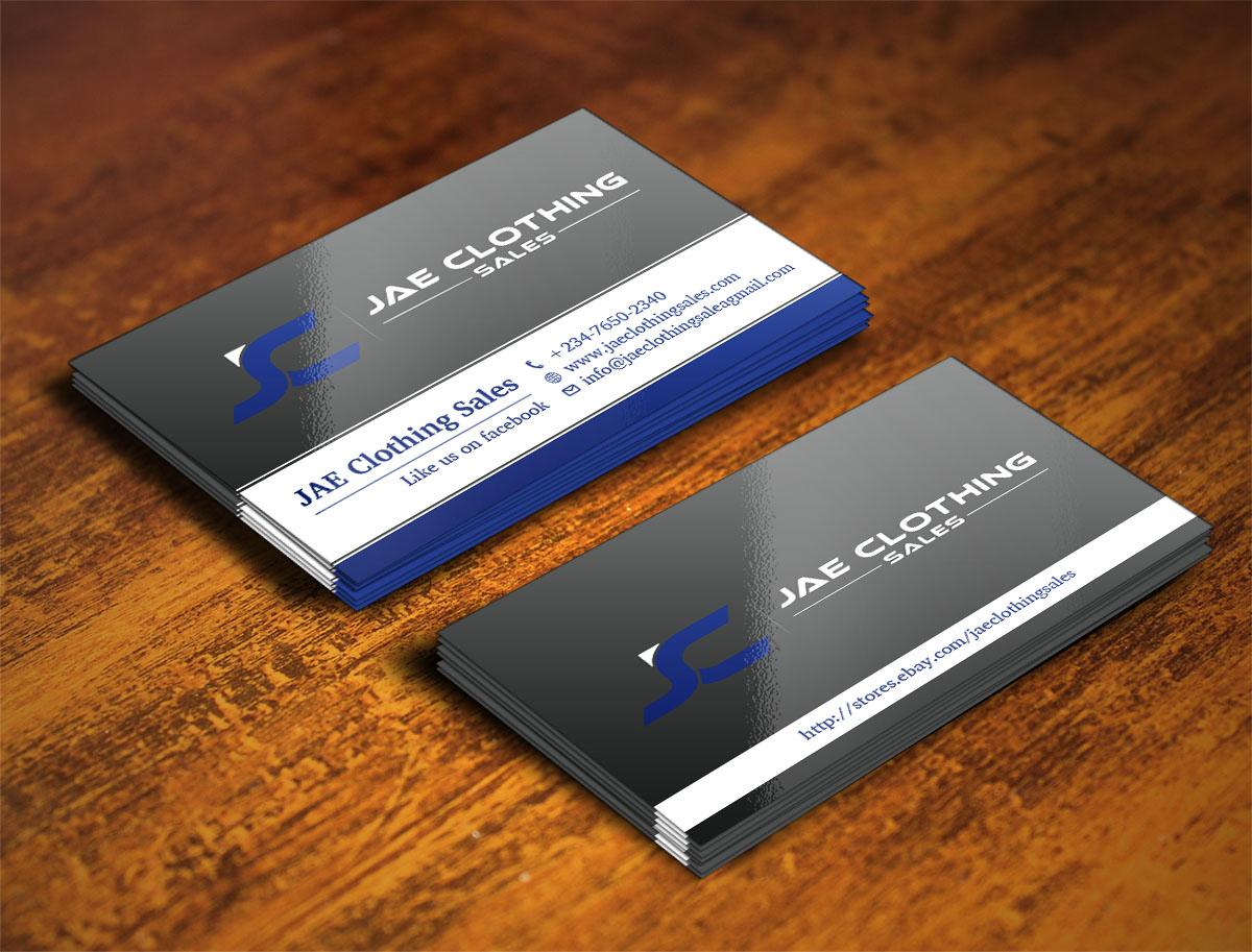 Bold modern business card design for jae sales llc by creative business card design by creative design for business card for online clothing business design magicingreecefo Gallery