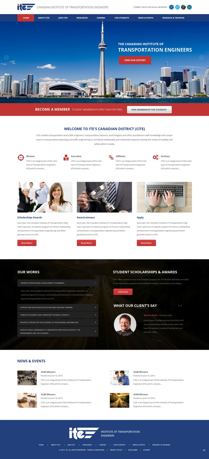Professional Modern Web Design For Canadian Institute Of Transportation Engineers By Pb Design 7066363