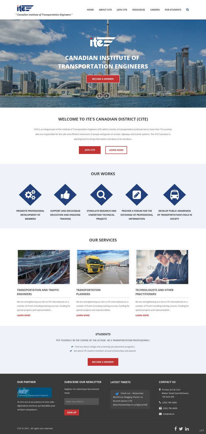 Professional Modern Web Design For Canadian Institute Of Transportation Engineers By Pb Design 7066365