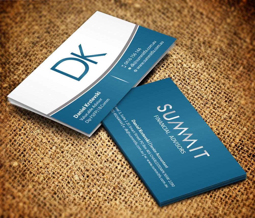 Modern upmarket business card design for daniel krstevski by business card design by sarmishtha chattopadhyay for financial advisor business card design 1816258 magicingreecefo Images