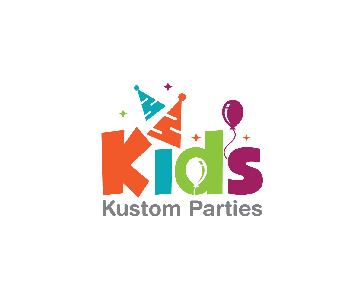 playful modern party planning logo design for kids