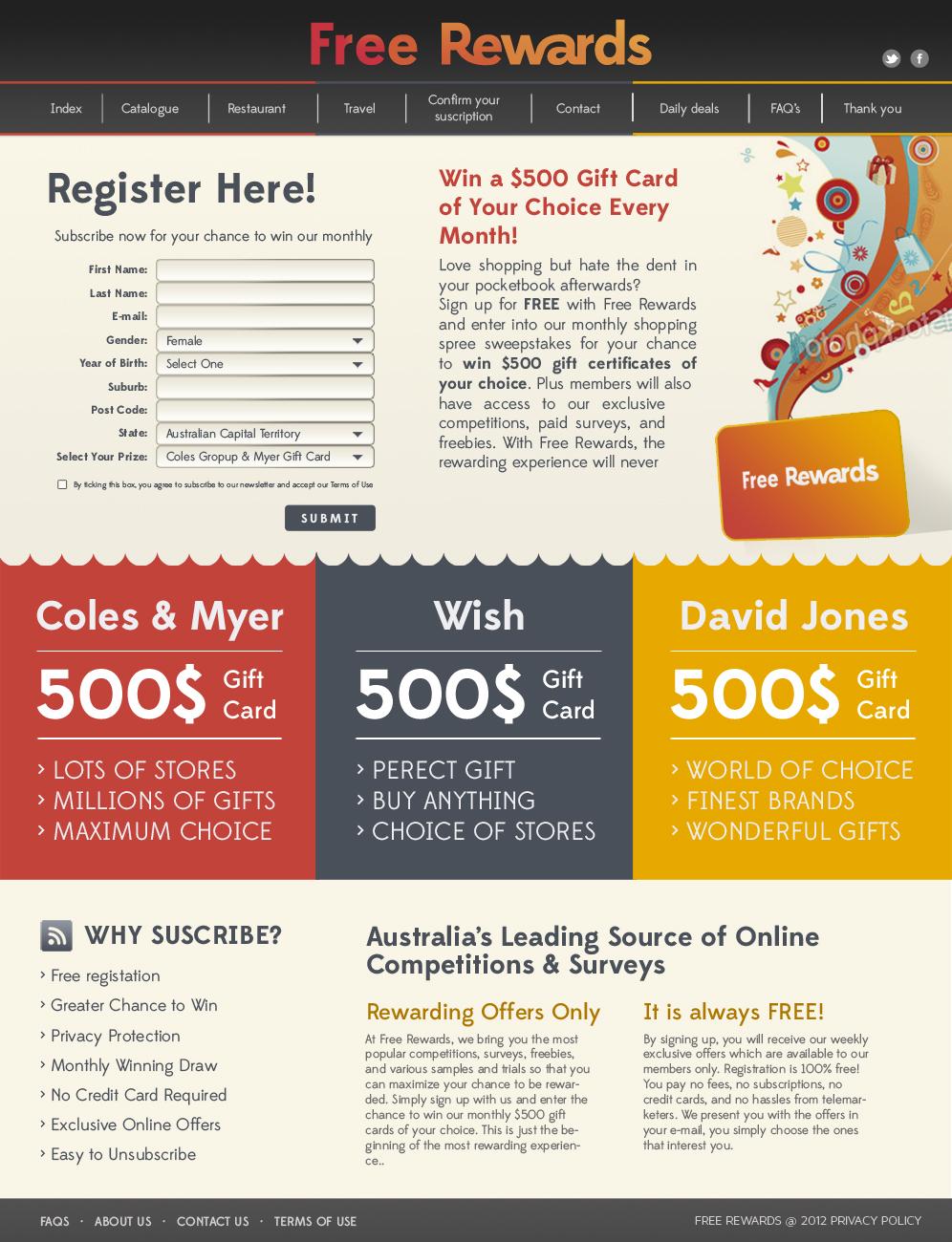 Bold, Playful Web Design for Free Rewards by silviaer