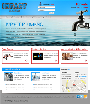 Wordpress Design job – impact plumbing web site – Winning design by pb