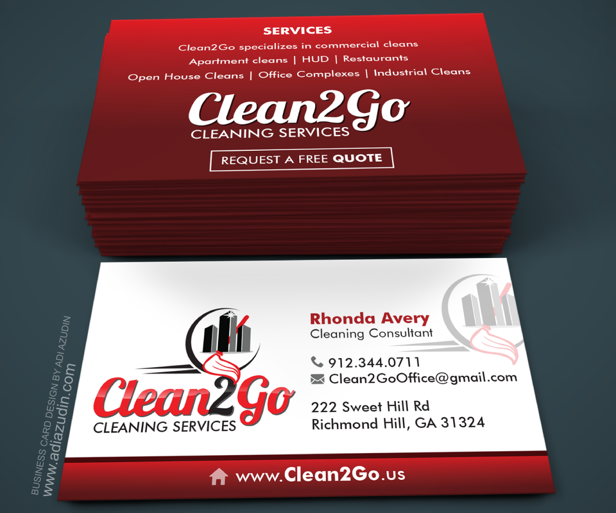 Elegant, Playful, Cleaning Service Business Card Design for a ...