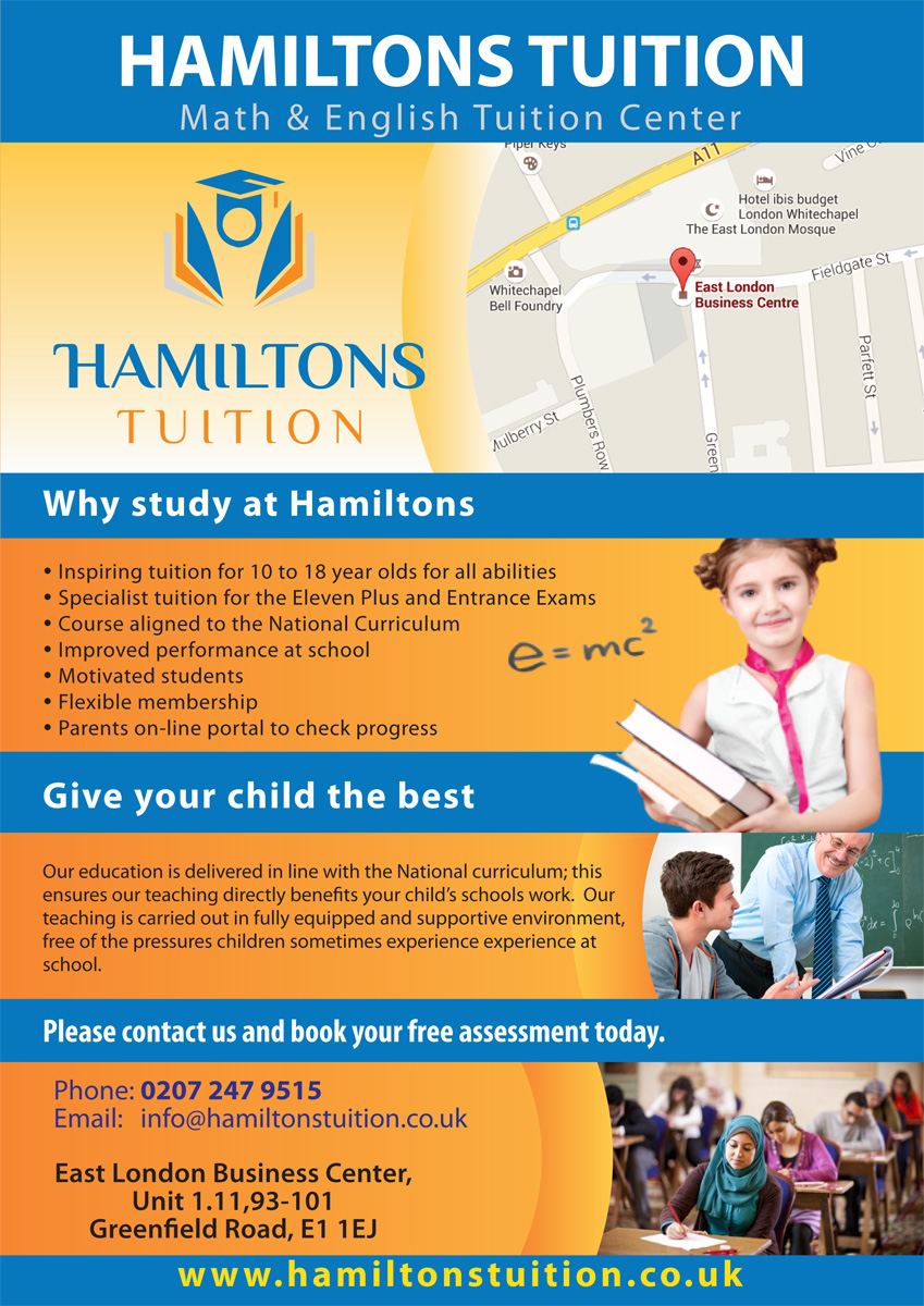 bold professional flyer design job flyer brief for hamiltons flyer design job leaflet for tuition centre targeting people from all background winning design