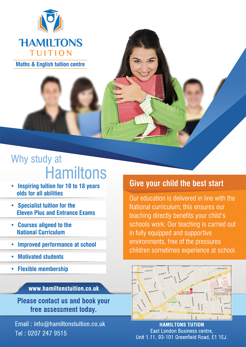 Bold, Professional Flyer Design for Hamiltons Tuition Ltd ...
