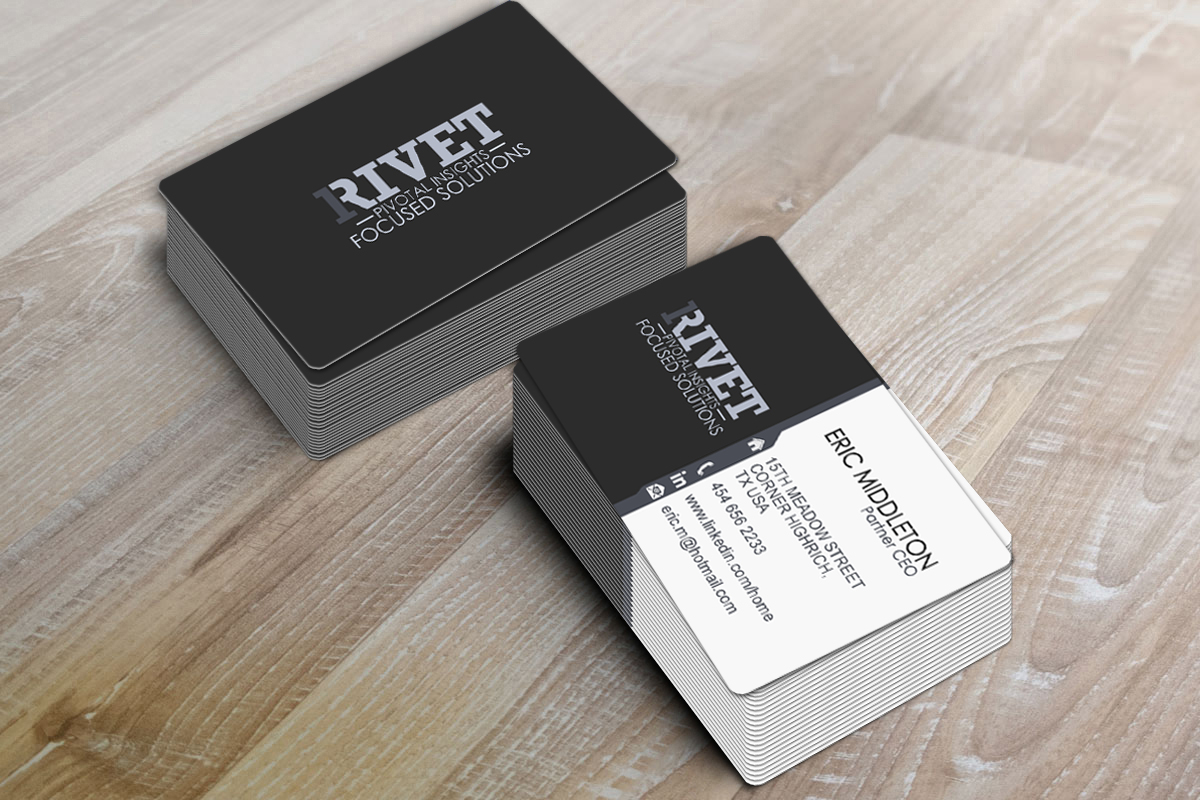 Elegant playful business business card design for 1rivet by business card design by photograffitic for 1rivet design 7200773 reheart Images