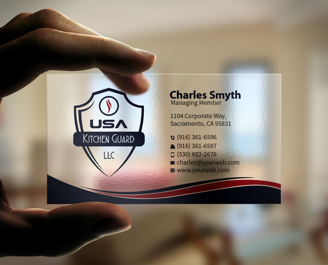 Professional elegant business business card design for usa kitchen business card design by mediaproductionart for usa kitchen guard llc design 7204060 reheart Images