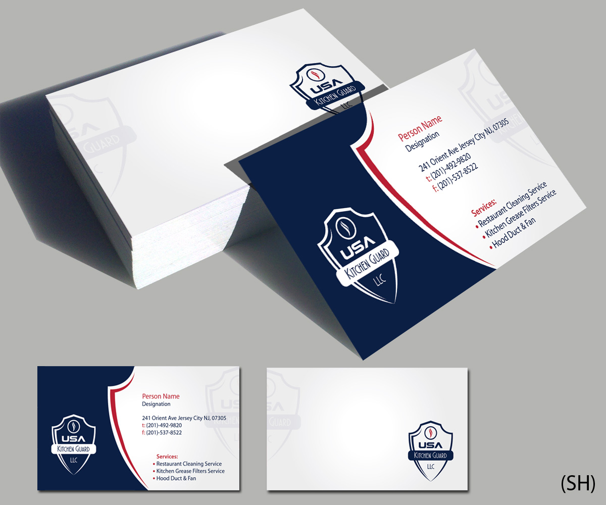 Professional elegant business card design for usa kitchen guard llc business card design by esolbiz for usa kitchen guard needs a business card design reheart Choice Image