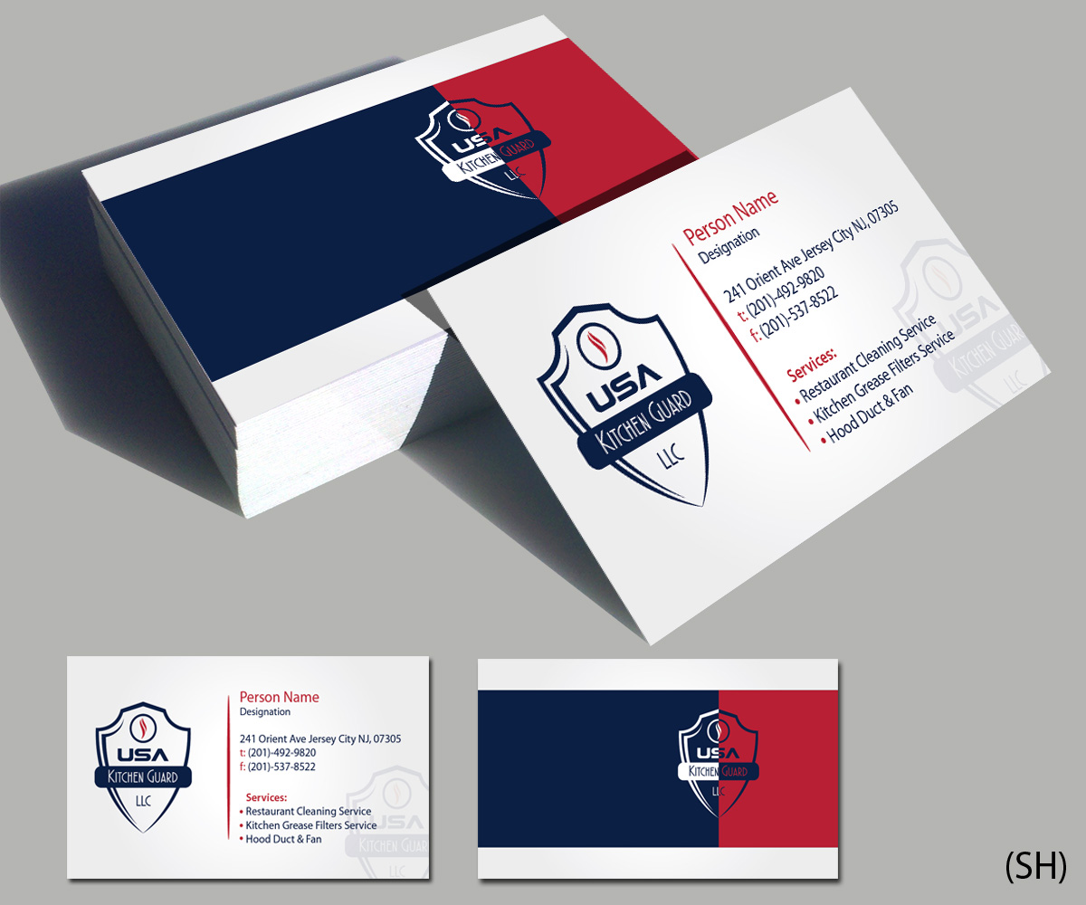 Professional elegant business business card design for usa kitchen business card design by esolbiz for usa kitchen guard llc design 7120762 reheart Images