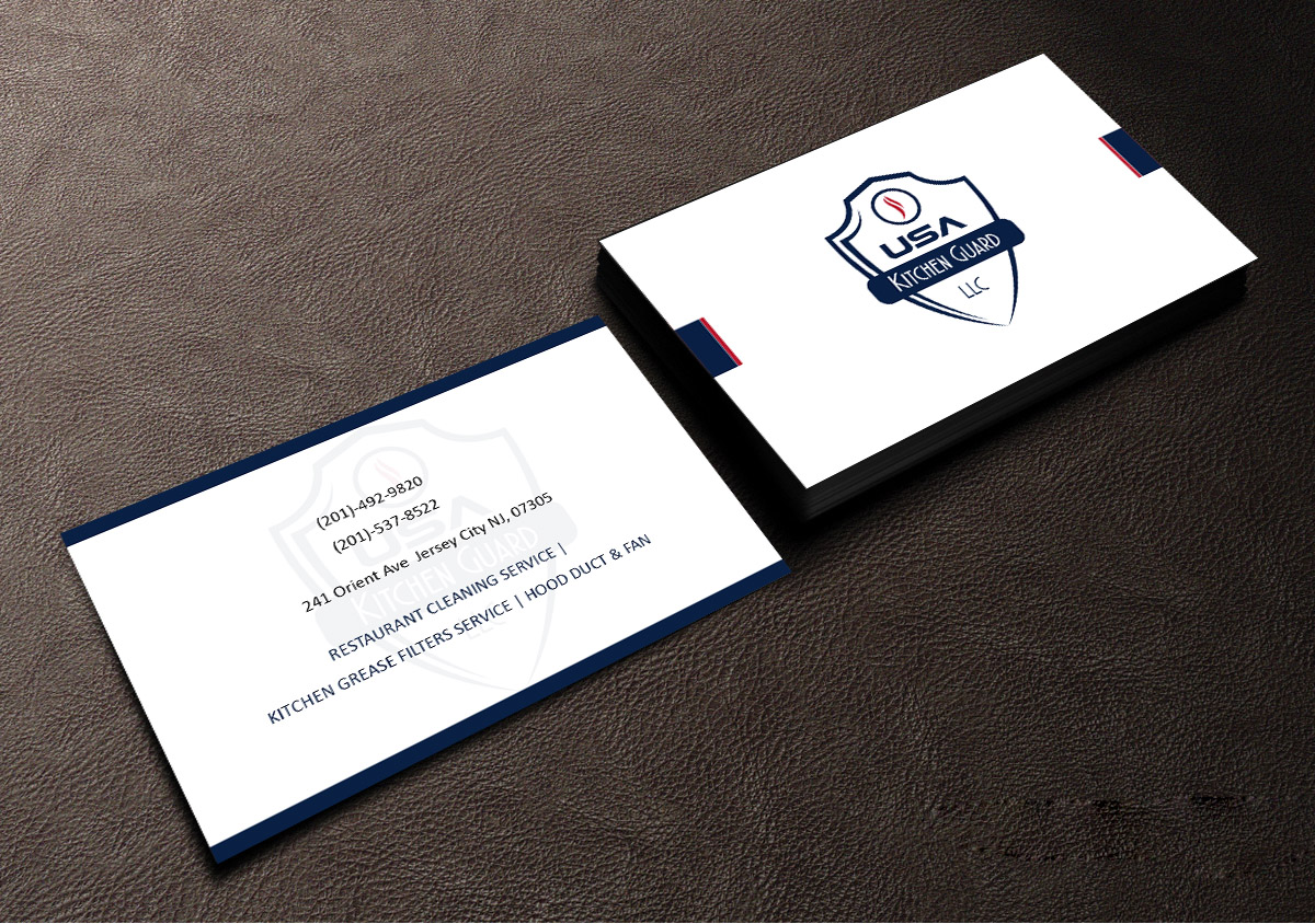 Professional elegant business card design for usa kitchen guard llc business card design by creations box 2015 for usa kitchen guard needs a business card design reheart Choice Image