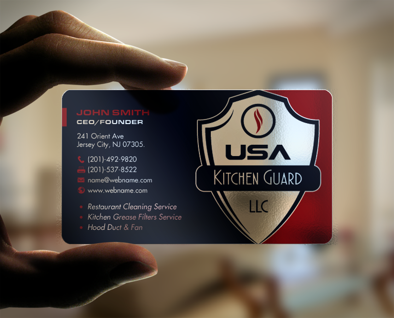 Professional elegant business card design for usa kitchen guard llc business card design by chandrayaaneative for usa kitchen guard needs a business card design reheart Choice Image