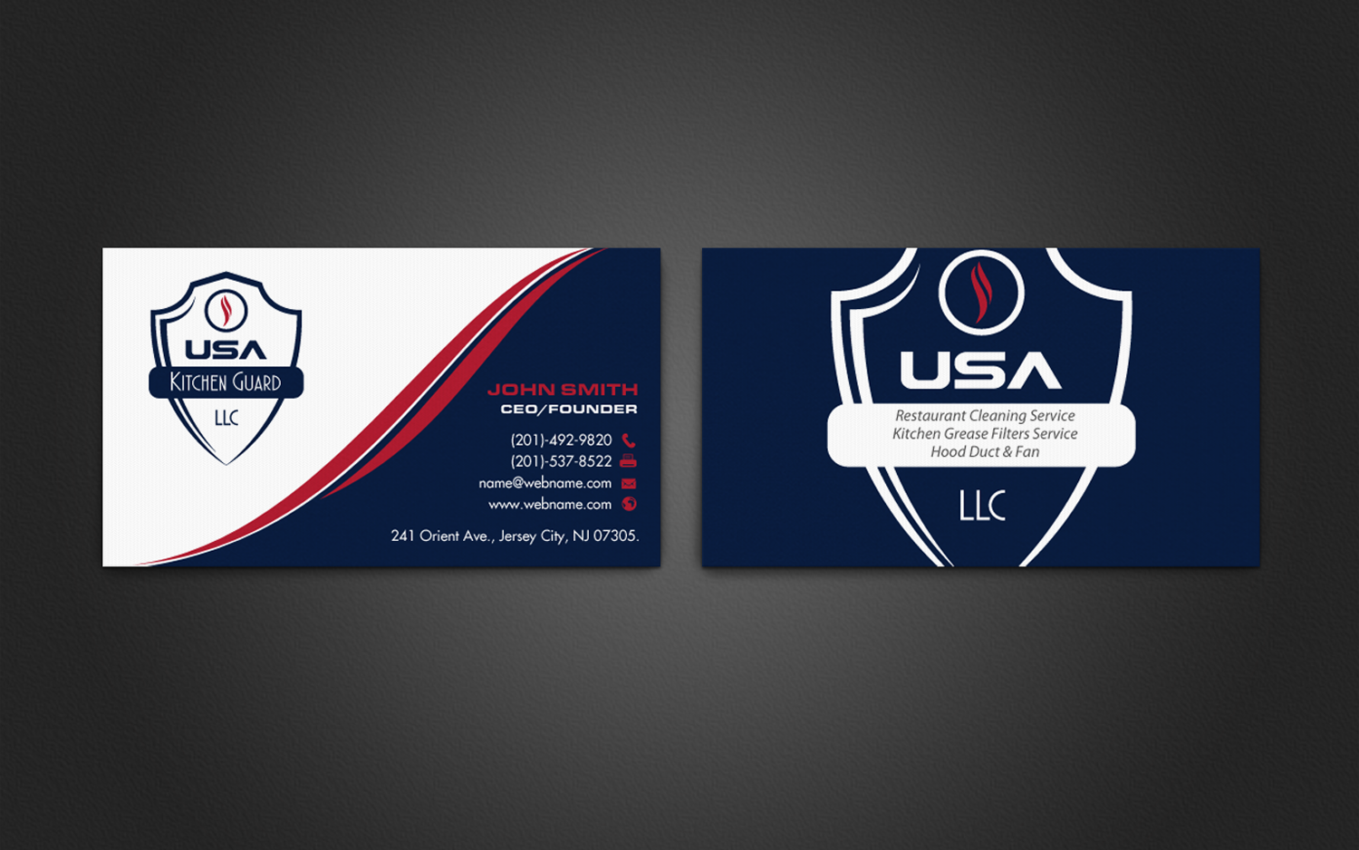 Professional elegant business business card design for usa kitchen business card design by chandrayaaneative for usa kitchen guard llc design 7114758 reheart Images