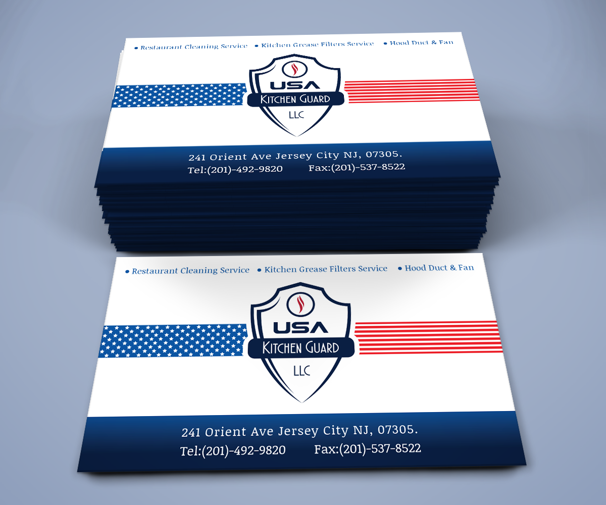 Professional elegant business card design for usa kitchen guard llc business card design by xtractart technology for usa kitchen guard needs a business card design reheart Choice Image