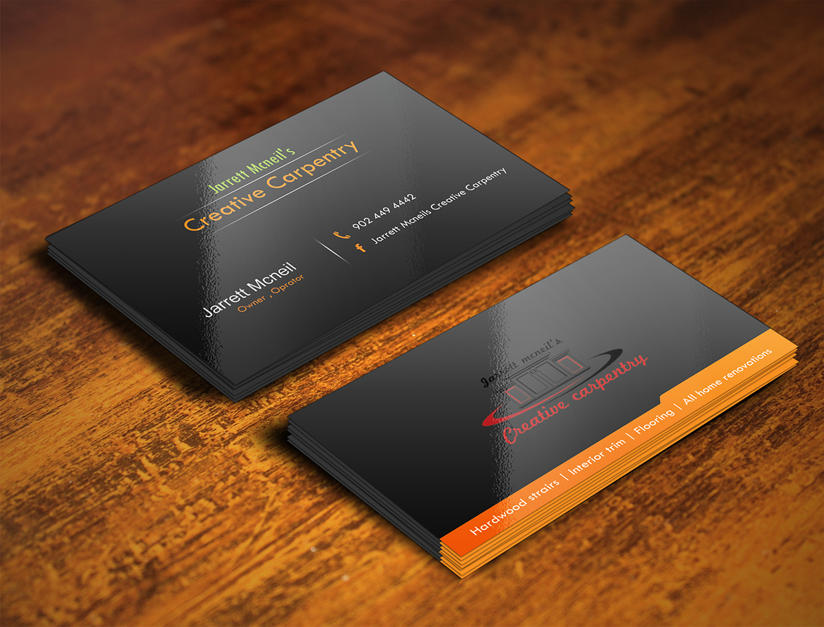 Bold serious business business card design for jarrett mcneils bold serious business business card design for jarrett mcneils creative carpentry in canada design 7123007 colourmoves
