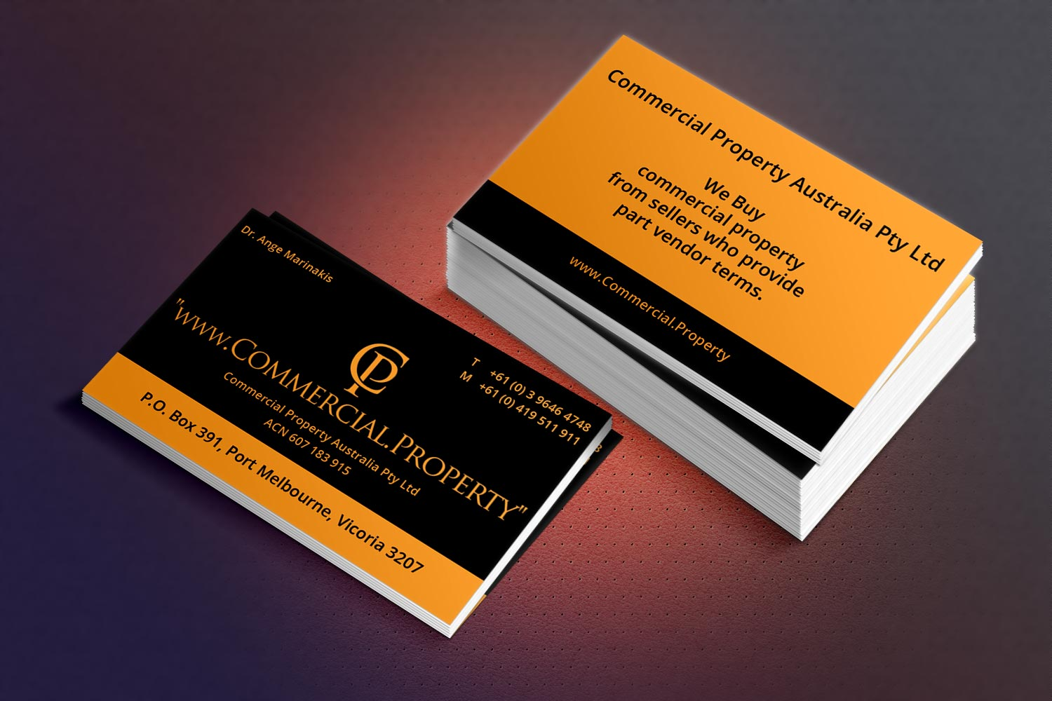 masculine conservative business card design for ange marinakis