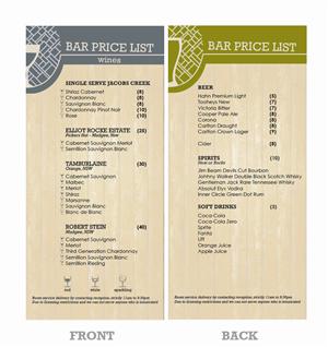 price list designs